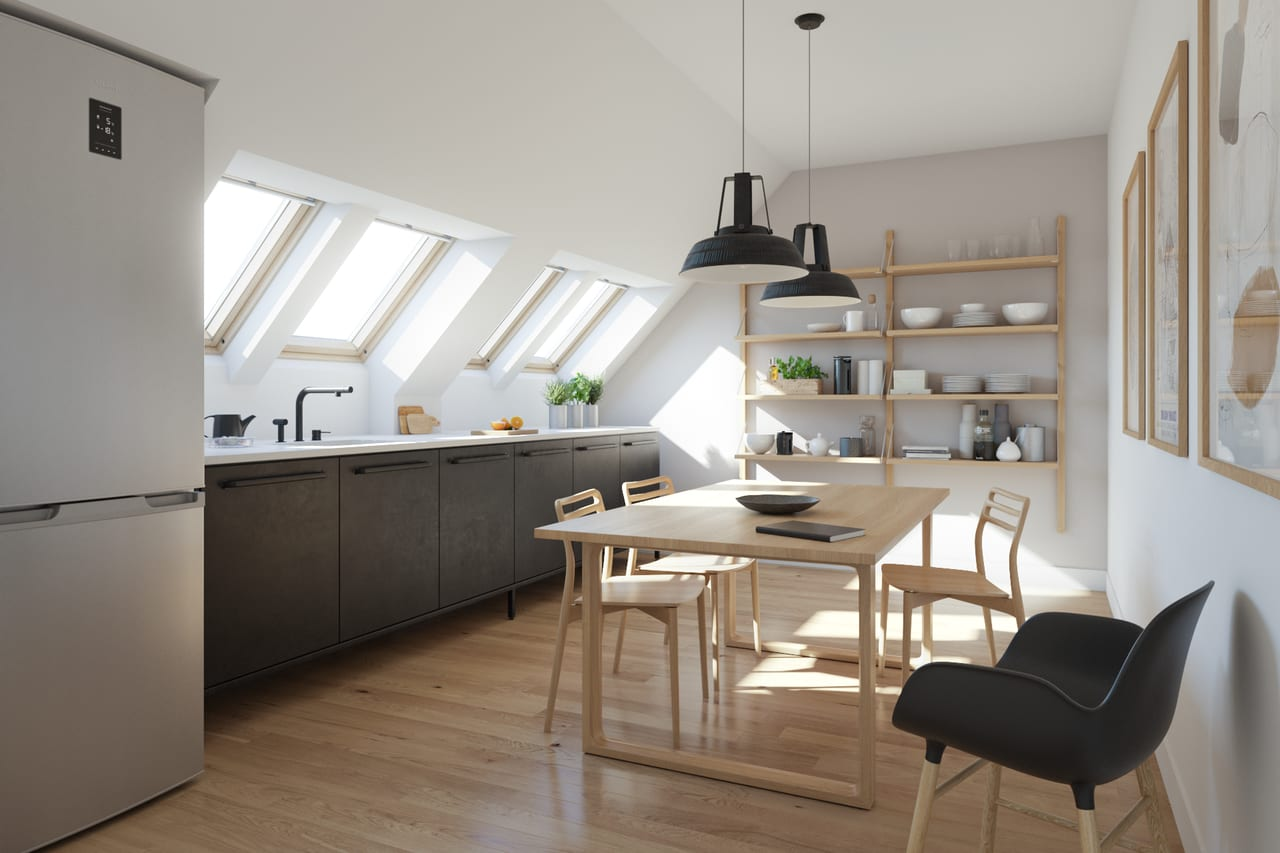 kuchyňa v podkroví